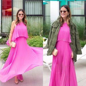 BCBMAXAZRIA pink pleated maxi dress